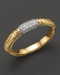 John Hardy | Metallic Bamboo 18k Yellow Gold Diamond Pave Slim Band Ring | Lyst