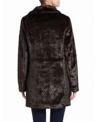 Ellen Tracy | Brown Faux-fur A-line Coat | Lyst