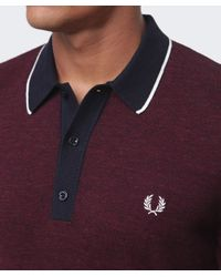 Fred Perry | Red Yarn Knit Tipped Polo Shirt for Men | Lyst