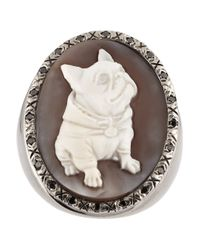Amedeo - Metallic Rhodiumplated Sardonyx Shell And Diamond Dog Cameo Ring - Lyst