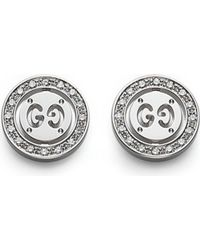 Gucci | Metallic Icon Twirl 18Ct White-Gold And Diamond Stud Earrings - For Women | Lyst