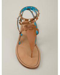 Valentino   Blue 'Rockstud' Thong Sandals   Lyst