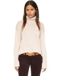 525 America - Natural Asymmetrical Turtleneck Sweater - Lyst