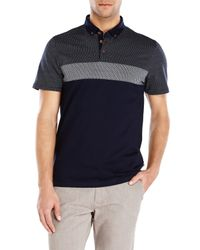 Ted Baker - Blue Navy Printed Polo for Men - Lyst