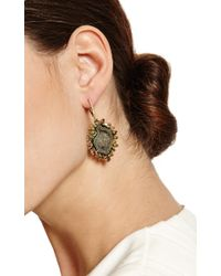 Kimberly Mcdonald - One Of A Kind Dark Green Geode Natural Brown and Green Diamond Lever Back Earrings - Lyst