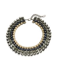 Cara | Metallic Four Row Headlight Stone Collar Necklace | Lyst