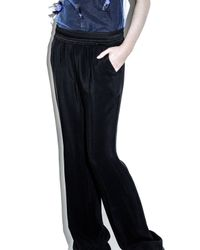 3.1 Phillip Lim - Black Straight Leg Pant With Shirred Waistband - Lyst