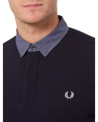 Stussy - Blue Marl Gingham Trim Pique Polo Shirt for Men - Lyst