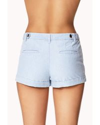 Forever 21 - Blue Button Tab Chambray Shorts - Lyst