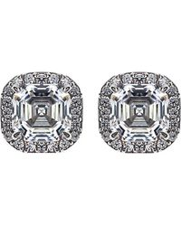 Carat* | Metallic Asscher 1.5ct Borderset Stud Earrings | Lyst