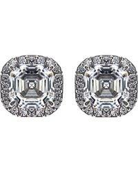 Carat* - Metallic Asscher 1.5ct Borderset Stud Earrings - Lyst