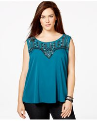 Jessica Simpson | Blue Plus Size Beaded Layered-back Top | Lyst