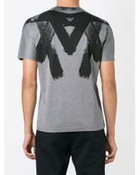Emporio Armani | Gray Brush Stroke Print T-shirt for Men | Lyst