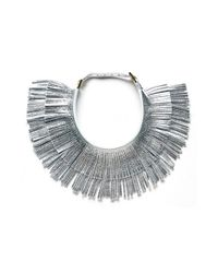 hayden-harnett - Metallic 'ilaria' Leather Fringe Collar Necklace - Lyst