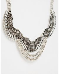 Monki - Metallic Statement Necklace With Antique Finish - Lyst