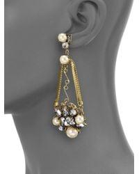 Erickson Beamon - Metallic Stratosphere Crystal & Faux Pearl Statement Drop Earrings - Lyst