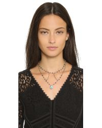 Ela Rae | Gray Cleo Cage Necklace - Iolite/pyrite | Lyst