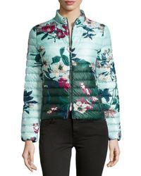 Moncler   Blue Heudelet Floral-Print Quilted Jacket   Lyst