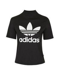 TOPSHOP | Black Berlin High Neck Tee By Adidas Originals | Lyst