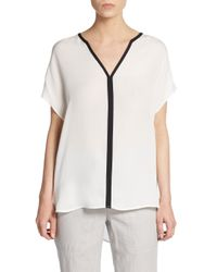 Vince | Natural Silk Colorblock Hi-lo Top | Lyst