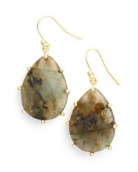 Panacea | Metallic Stone Teardrop Earrings - Labradorite | Lyst
