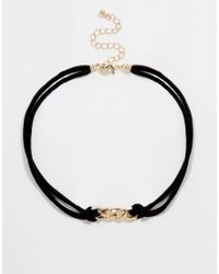 ASOS | Black Chain Link Suede Choker Necklace | Lyst
