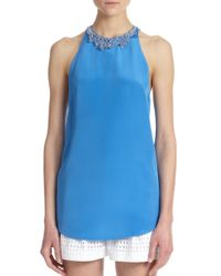 3.1 Phillip Lim | Blue Beaded-neck Silk Sheer-back Top | Lyst