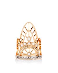 Joelle Jewellery | Metallic 18K Pink Gold Lace Phalanx Ring | Lyst