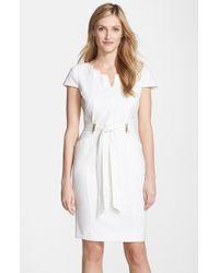 Ellen Tracy - White Belted Stretch Sheath Dress - Lyst