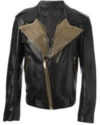 Alexander McQueen - Black Embellished Biker Jacket for Men - Lyst