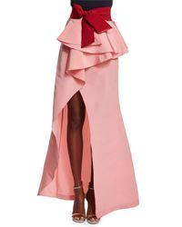 Johanna Ortiz - Pink Ruffled Peplum Silk Maxi Skirt - Lyst