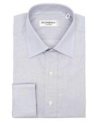 Saint Laurent - Gray Light Grey Cotton 'centouno' Spread Collar Dress Shirt for Men - Lyst