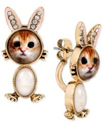 Betsey Johnson | Metallic Gold-tone Kitty Bunny Front And Back Earrings | Lyst