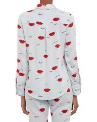 Piamita - Blue Piped Lipsprint Isabella Pajama Shirt - Lyst