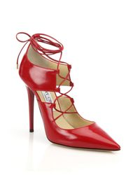 Jimmy Choo - Red Hoops Lace-up Leather Pumps - Lyst