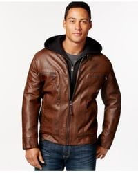 Calvin Klein | Brown Calvin Klein Big & Tall Faux Leather Jacket With Hood for Men | Lyst