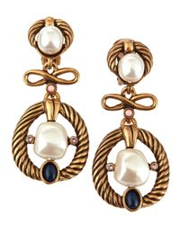 Oscar de la Renta - Metallic Pearl Bead Cabochon Clip Earrings - Lyst