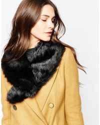 French Connection | Black Faux Fur Collar | Lyst