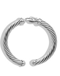 David Yurman - Metallic Cable Buckle Cuff With Diamonds - Lyst