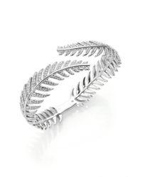 Adriana Orsini | Metallic Plume Pavé Crystal Bypass Bracelet/silvertone | Lyst