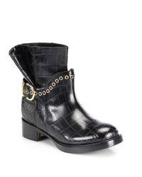 Ferragamo - Black Nolas Crocembossed Ankle Boots - Lyst