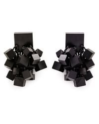 Monies | Black Hanging Cube Clip-on Earrings | Lyst