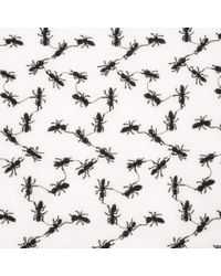 Paul Smith - Natural Men's White Silk-cotton Embroidered Ant Scarf for Men - Lyst