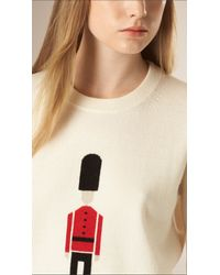 Burberry - The Guardsman Wool Cashmere Sweater Natural White - Lyst
