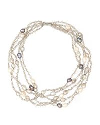 Gardenia | Gray Grey Embellished Necklace | Lyst