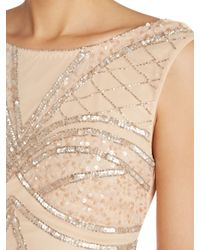 Lipsy - Natural Embellished Bodycon Dress - Lyst