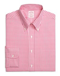 Brooks Brothers - Orange Non-iron Regent Fit Gingham Sport Shirt for Men - Lyst