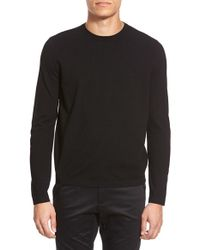 Theory | Black 'brettos' Trim Fit Crewneck Sweater for Men | Lyst