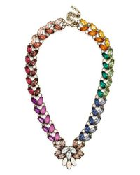BaubleBar | Multicolor 'garland Brooch' Collar Necklace - Rainbow/ Antique Gold | Lyst