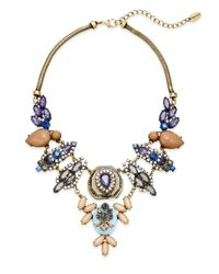 Cara | Multicolor Jeweled Bib Necklace | Lyst